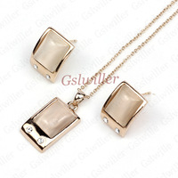 Italina Rigant jewelry wholesale, Min.order 2 pcs,Free Shipping 18k Rose Gold Plated Cymophane Jewelry Set Necklace and Earring