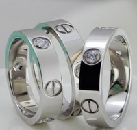 silver color & crystal titanium steel leve rings