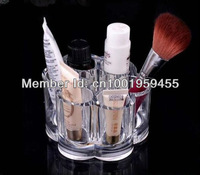 Clear Acrylic Flower Cosmetic and Makeup Brush Holder - Organizer