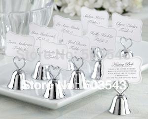Free shipping 100pcs/lot wedding favor Kissing Bell Place Card Holders to North American by Fedex