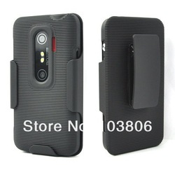 New Hard Black OR White Gel Rubber Duty Case & Belt Clip Holster Kickstand FOR HTC EVO 3D(China (Mainland))