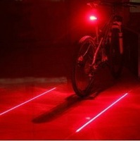 New Bicycle Cycling Laser Tail Light (2 Laser + 5 LED) Bike Safety Back Rear Led Red Light Flashlight Lamp Free / Drop shipping
