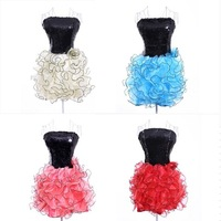 Big Discount!!!2014 New Arrival Paillette Ruffle Short Dridesmaid Party Dress Stapless Tube Top Layered Prom Dress Free Shipping