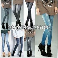 Free Shipping Imitate Jean Leggings ,Lady's Beautiful Ninth Pants ,Autumn Colorful Striped Women Leggings 165pcs/lot Retail