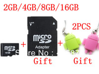 free shipping 2GB 4GB 8GB 16GB Micro SD HC Transflash TF CARD+Free adapter+ White plastic retail box+2pcs robot card reader