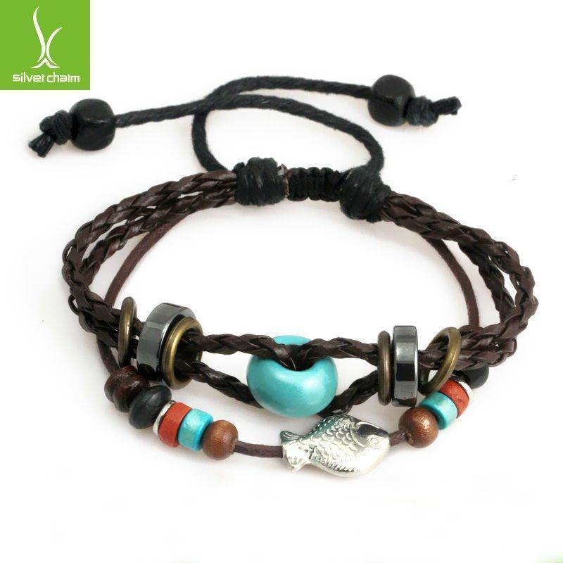 New Arrival Braided Leather Wrap weave Charm Wristbands Friendship Bracelet Fashion Jewelry PI0273(China (Mainland))