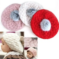 Christmas Gift Hat 3colors Hot Fashion Cute Children Baby Kids Knit Crochet Beanie Winter Warm Hat Cap Free Shipping  000169