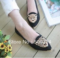 Free shipping! Large size fashion metal rhinestone pointed toe single shoes leopard head flat heel gentlewomen princess female