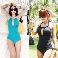 2014 Fashion woman triangle one piece swimsuit sexy hot spring slim female monokini lady swimming bathing suit swimwear blue