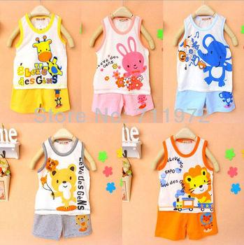 Japan DESIGN HOTSALE 1set Children Vest Suits Boys Girls outfits,pure cotton cartoon baby suit, free shipping
