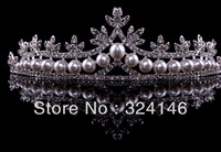 Free Shipping  crystal bridal crown  high quality pearl jewelry  Romantic wedding hair accessory