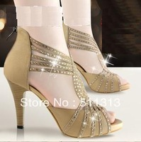 FREE SHIPPING 2013 new arrival rhinestone genuine leather platform high-heeled shoes open toe sandals