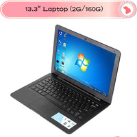 "2013 Cheap Laptop  13.3"" D2500  Notebook  2GB Ram, 160GB HDD,Webcam, WIFI Win 7/Win 8 6 Cell Battery"