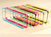 Free shipping 100pcs/ lot  Flexible TPU Bumper Case for IPhone 4 4s bumper cover 7 Color 0.2MM Ultra Thin Ultra Soft