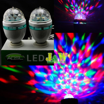 Home stage lights. Small KTV.AC85-265V E27 3W automatically rotating lights.LED Full Color Rotating lamp