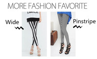 Fashion Casual Cotton Black White Zebra Vertical Stripes Stretch Leggings Free Shipping 9159