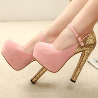 Fashion ultra high heels shoes paillette platform single women's pumps