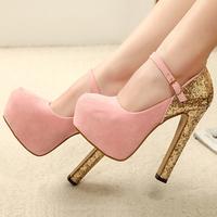 Fashion ultra high heels shoes paillette platform single women's pumps