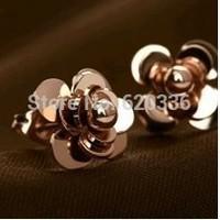 14k rose gold plated titanium steel  camellia earring