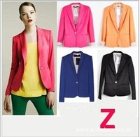 2014 Fashion Suit Blazer Foldable Sleeve Brand Jackets Woman 6 Solid Candy Color Silm Button Suit Coat Outwear Plus Size XS~XL