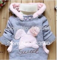 Children's hooded outerwear 2014 new kids winter coats boys cartoon rabbit padded coat bunny fleece jackets for girls ok307