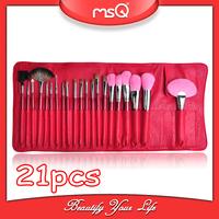 Free Shipping! Hot Sale 21pcs Red Cosmetic Brush Set Kolinsky Cosmetics Makeup Eye Shadow Brush+PU leather Case Bag