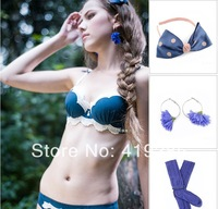 2013 On Sale Noble Dark Blue Women Intimates Deep V-neck Lace Diamond Brief Bra Sets Underwear Women Bra Set(Bra + Thong) SLS003