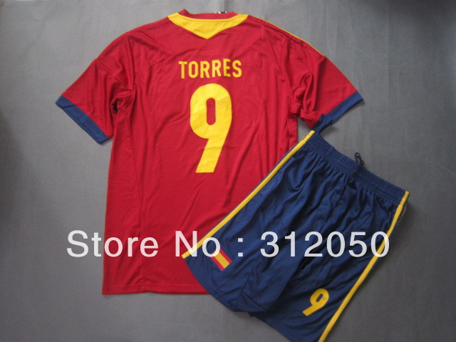 World cup qualifer jerseys spain 13 14 new home soccer jersey red football unifrom kits short shirts #9 Fernando Torres(China (Mainland))