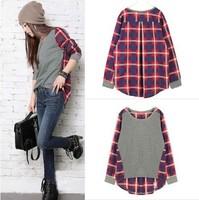 Spring 2013 women's o-neck patchwork plaid long-sleeve T-shirt women long design basic tops Tees