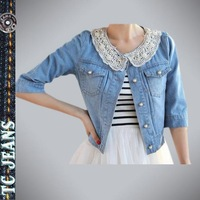 [TC Jeans]2013 jeans jacket women clothing spring female long sleeve lace pearl diamond design denim outerwear coat short jacket