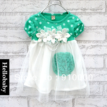 children's short-sleeve dots  flower clothing  for girls  yarn green summer dress wholesale discount