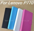 freeshipping original Lenovo P770 leather case , leather case for lenovo P770 black ,white , blue, rose red / Eva(China (Mainland))