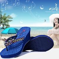 Free Delivery 2014 Fashion Platform Sandals for Women Rhinestone Flip Flops Women  Sandalia Wedge Sandals Summer Shoes Slippers