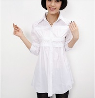 Size M-3XL high quality fashion long white blouse 2013 loose woman black shirt white casual shirt Free Shipping