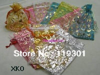 100pcs Random Color 10x15cm MultiColor Pattern Organza Wedding Gift Candy Bags Jewellry Package Pouch XKO Free Shipping
