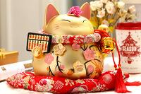 New opening Maneki neko ceramic golden lucky cat coin fortune piggy bank money saving box Home decor wedding decoration craft