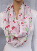 free shipping - promotion women fashion voile fruit print cherry infinity scarf spring scarf