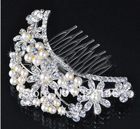 Free shipping new design luxurious pearl+ crystal +alloy wedding Hairpins  bridal accessories jewelry retail / wholesale