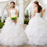 CHQY--Wedding dress 2013 latest wedding dress spring wedding Bra Lace Pompon retro sweet wedding