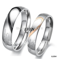 Heart Shape Matching Titanium Promise Ring for Couple 316l stainless steel Wedding Bands rings