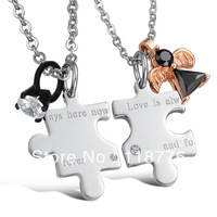 Fashion Accessories Jewelry Hot sail gift Titanium CZ diamond Puzzle pendant lovers couple necklace