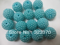Newest turquoise color AAA quality 100pcs a lot 20mm resin rhinestone ball beads,Bling chunky ball beads for Jewely accessory