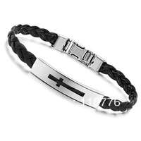 Fashion Accessories Jewelry Gift Titanium Glossy Knitted Weaving Genuine PU Leather Strap Cross Women Bracelet