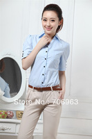 2013 women New Summer clothing,women's Fashion Short Sleeve work wear Office dress Shirts ladies elegant tops Blouse