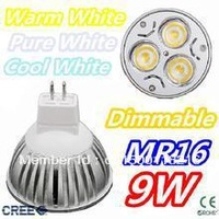 Free shipping 10pcs/lot Dimmable Gu10 E27 E14 Gu5.3 MR16 B22 Rotundity light 9w High power spotlihgt LED Bulb lamp lighting