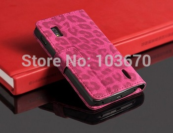 Fashion Leopard PU Leather Wallet Case for LG E960 Google Nexus 4 Mobile Phone Flip Cover Stand with Card Slots Holder