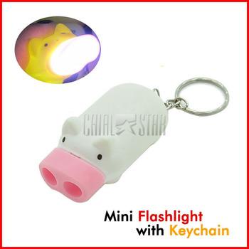 Promotional Novelty 2 LED Light Pig Flashlight Keychain Mini Torch Key Chain Holder Cute Gifts Keyring
