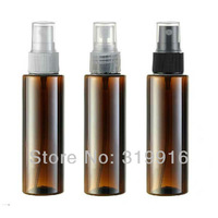 free shipping R24-100ml brown cylinder spray pump perfume  bottle for PET , floral water bottles containers  50pc/lot