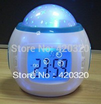 Music Starry Star Sky Projection Alarm Clock Calendar Thermometer with retail package, best gift Electronic toy clock