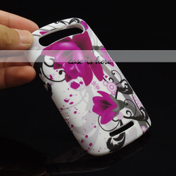 Free Shipping Flower Soft Gel Silicone Skin Rubber Cover Case For BlackBerry Curve 9360(China (Mainland))